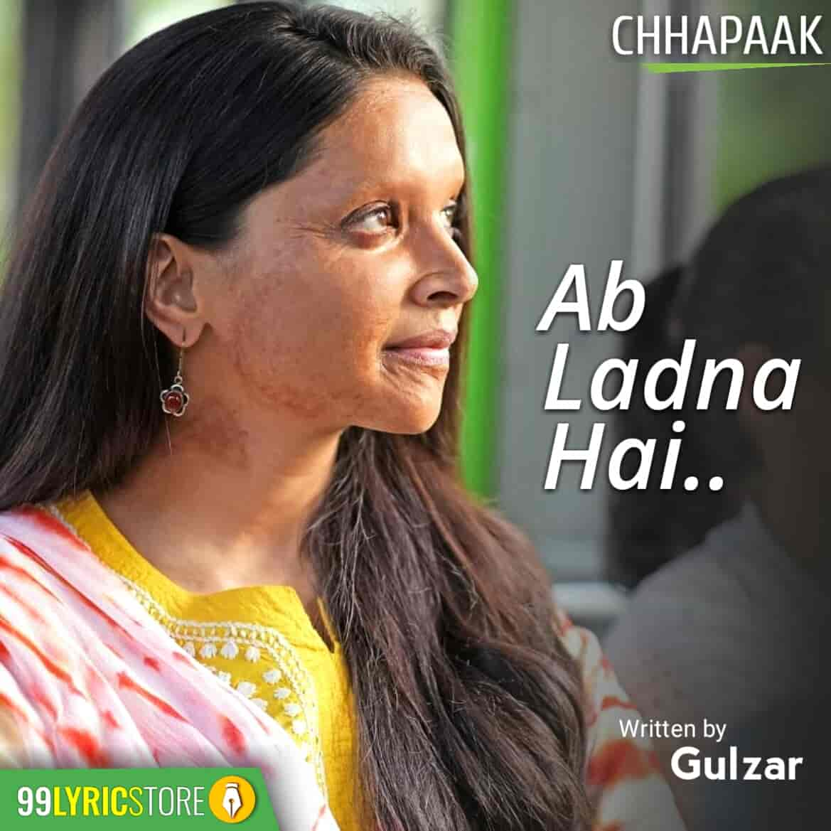 Presenting the poem Ab Ladna Hai from Deepika Padunkon starrer movie Chhapaak. This poem is penned by Gulzar Saab. This is a inspiring poem performed by Deepika Padunkon and Vikrant Massey.