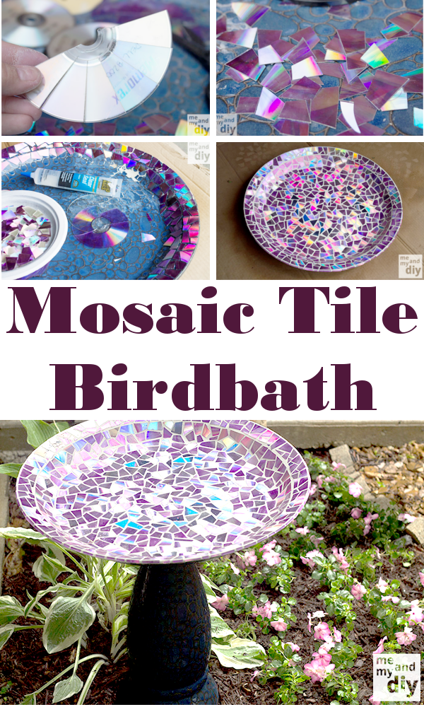 Mosaic Tile Birdbath Check Out This Amazing Covered In Recycled Dvd S