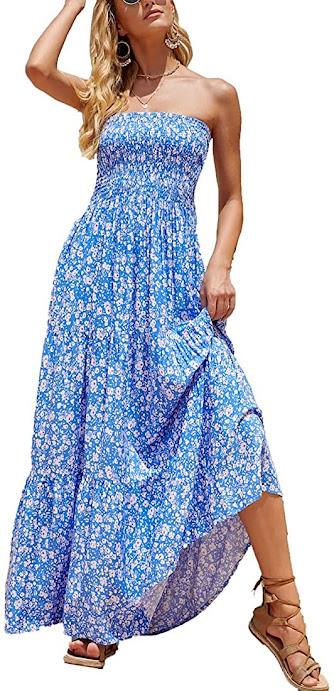 Blue Strapless Maxi Dresses for Women