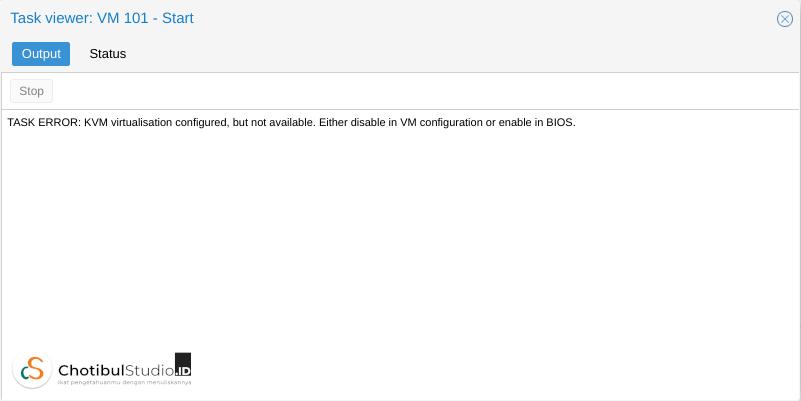 """Cara Memperbaiki Masalah """"KVM virtualisation is configured, but not available"""" di Proxmox"""