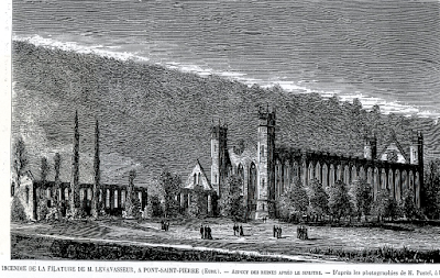 Filature Levavasseur sur l'Andelle - Fontaine-Guérard - 1874 Gravure de la filature après l'incendie ( L'Illustration)