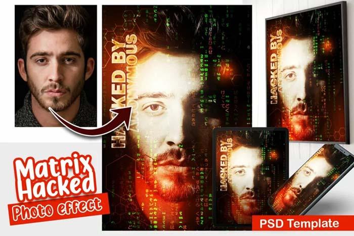 Matrix Hacked PSD Photo Template