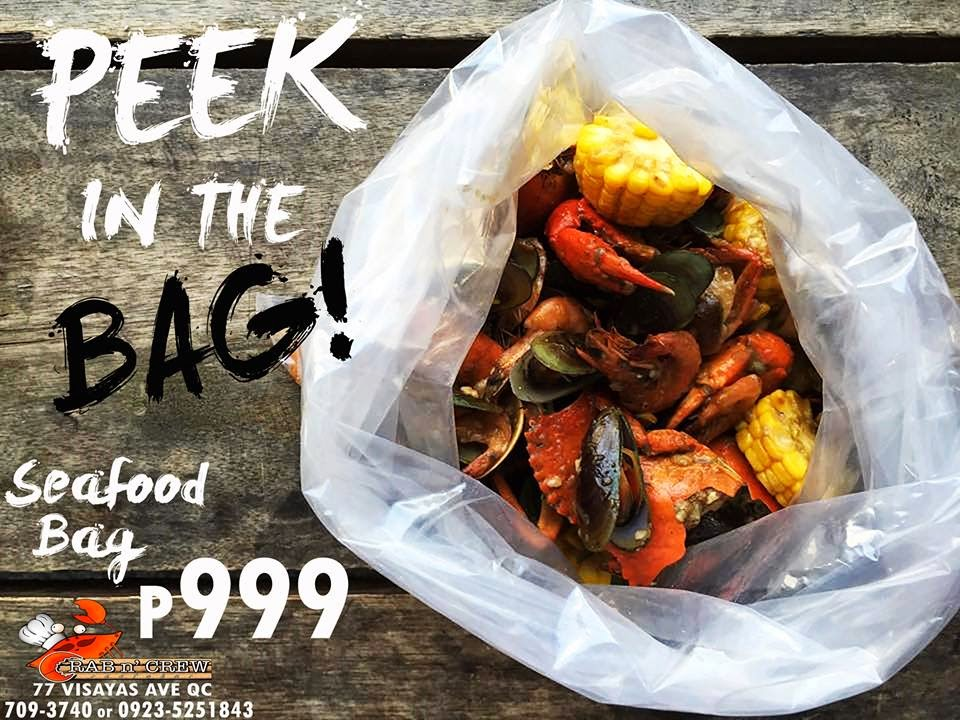 """seafood bag"" a combination of mussels, shrimps, clams, squid and crab for P999"