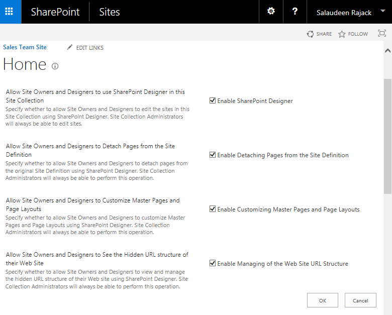disable sharepoint designer site collection powershell