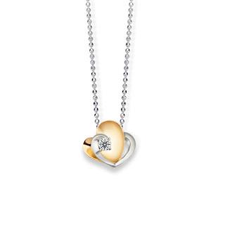 Dây chuyền nam đính kim cương với trái tim đôi ý nghĩa