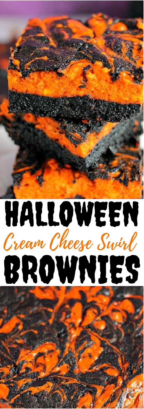 Halloween Swirl Cream Cheese Brownies #desserts #brownies