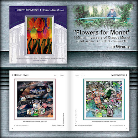 """Las obras """"El arte de Monet navega por el Cosmos"""" y """"Flores descansando entre Nenúfares"""", de Ramón Rivas en el Libro """"Flowers for Monet"""" (Páginas 20 y 21)"""