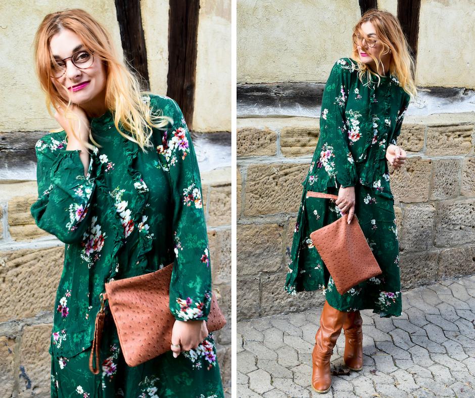 Grünes Herbstkleid mit Blumenmuster, was passt zu Grün?