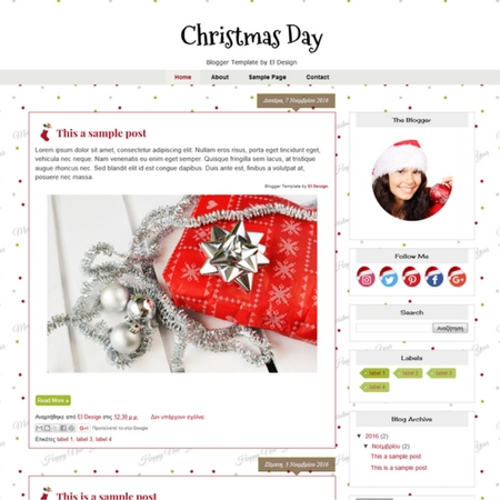 Christmas Day Blogger Template