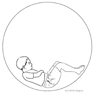 Black and white art of hungry boy in a bubble