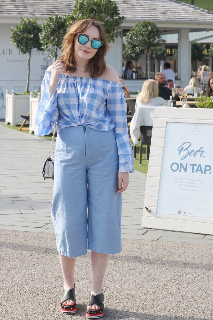 Liverpool fashion blogger summer 2017 outfit featuring pastel blue gingham off the shoulder top with flared sleeves and pastel blue handmade cullottes with platform black sandals