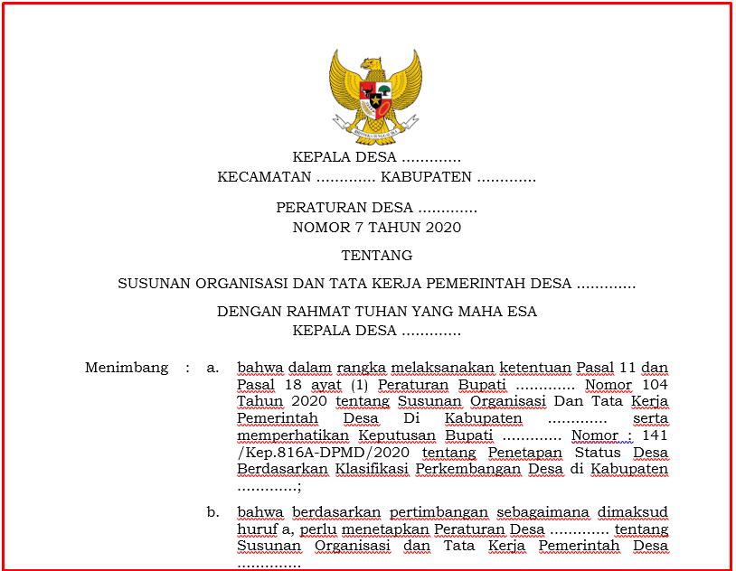 Download Perdes SOTK Pemerintah Desa Tahun  Download Perdes SOTK Pemerintah Desa Tahun 2021