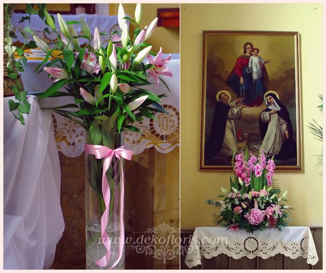 Różowa dekoracja ślubna kościoła i biały dywan z monogramem opolskie