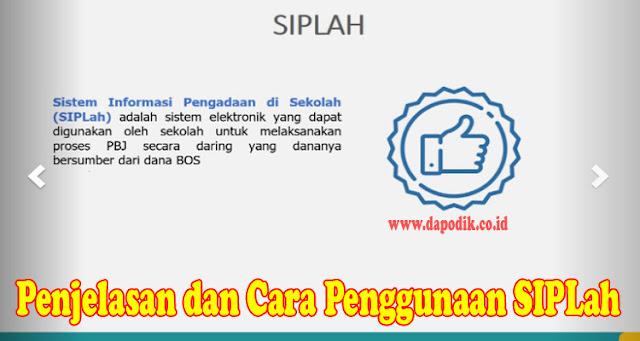 Penjelasan dan cara penggunaan SIPLah