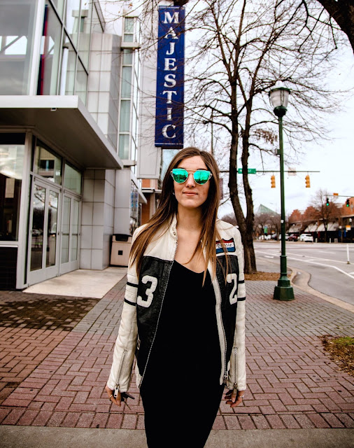 Biker jacket blogger chattanooga dowtown movie theatre street style