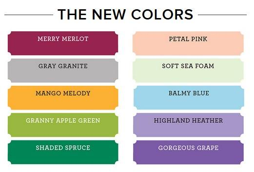 This image shows the new colours coming to Stampin' Up! in 2018
