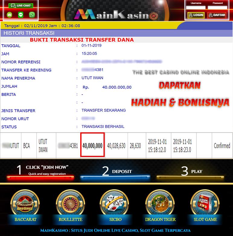 Selamat Kepada Member Setia MAIN KASINO Withdraw RP 40.000.000