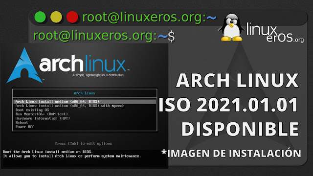 Arch Linux 2021.01.01 ISO, con Linux Kernel 5.10 LTS