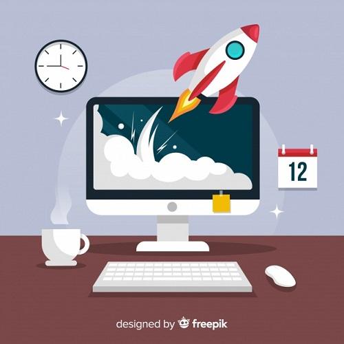 foguete computador decolando produtividade