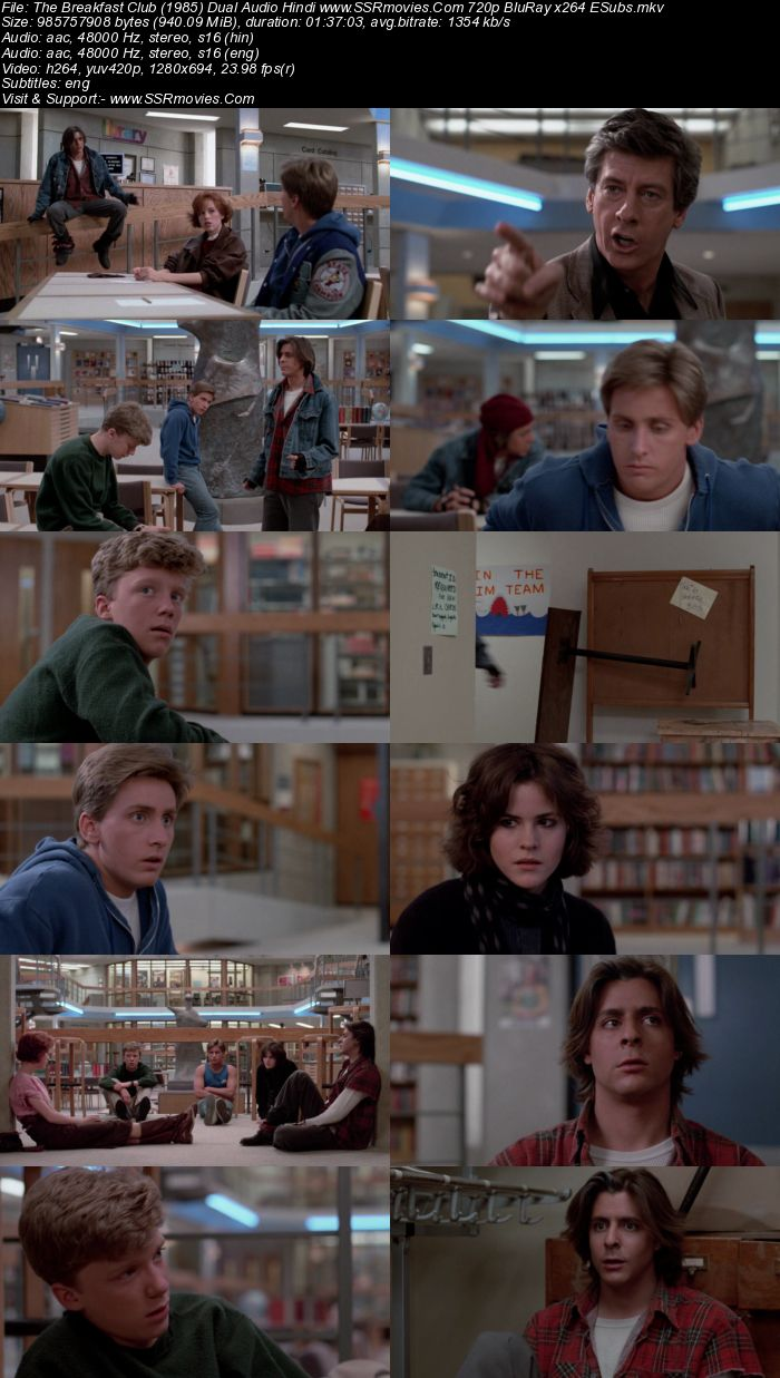 The Breakfast Club (1985) Dual Audio Hindi 720p BluRay x264 900MB ESubs Movie Download
