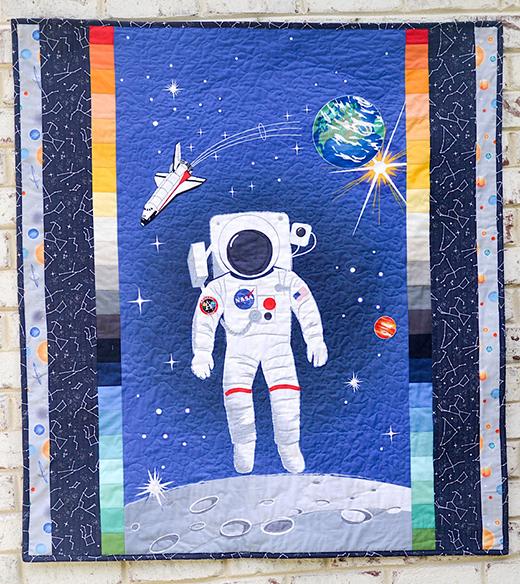Rocket Man Baby Quilt designed by Julia Frazier for Riley Blake Designs