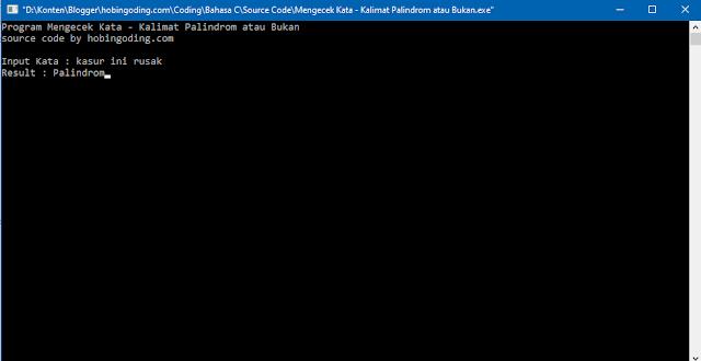 Tampilan Keluaran Program Mengecek Palindrome Bahasa C