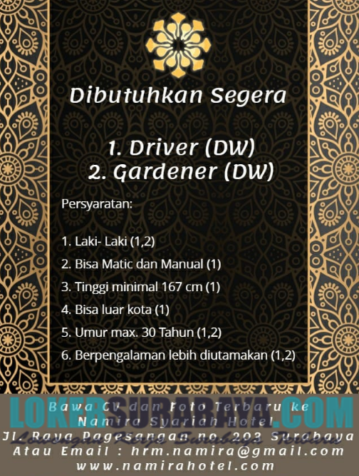 Loker Surabaya Terbaru Di Namira Syariah Hotel Juni 2019 Lowongan Kerja Surabaya Januari 2021 Lowongan Kerja Jawa Timur Terbaru