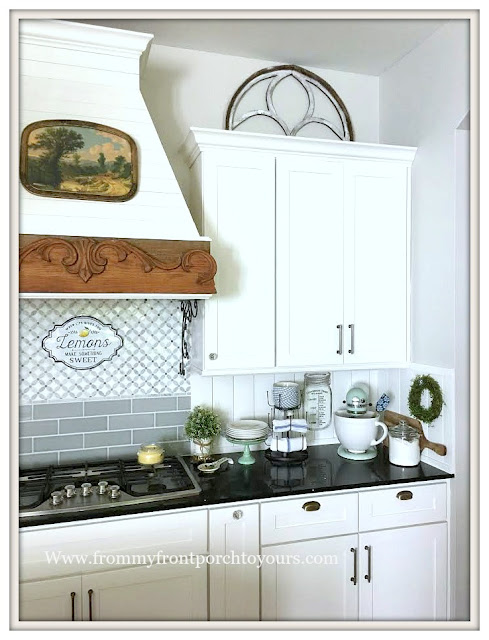 Farmhouse -Cottage- Kitchen-White Kitchen-Kitchen Vignettes-Kitchen Decor-DIY-Vent Hood-From My Front Porch To Yours