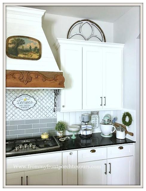 Farmhouse -Cottage- Kitchen-White Kitchen-Kitchen Vignettes-Kitchen Decor-DIY-Vent Hood-From My Front Porch To Yours