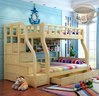 غرف نوم اطفال بسريرين ودولاب وتسريحه