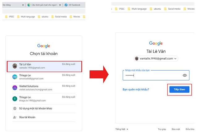 Hình 2 - Đăng nhập vào tài khoản Gmail dùng để gửi hóa đơn điện tử trên hệ thống S-invoice