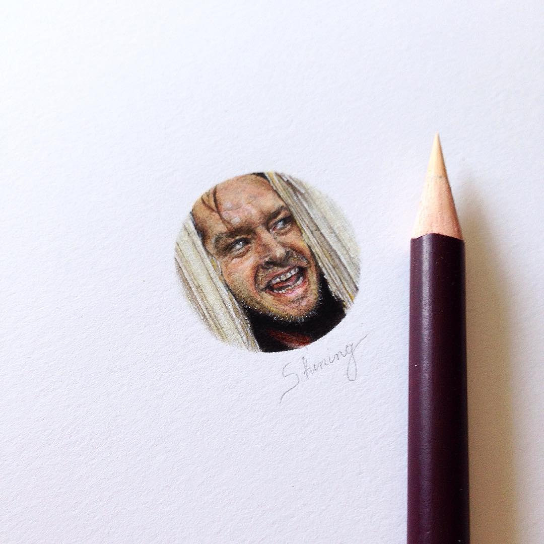 14-The-Shining-Stephen-King-Jack-Nicholson-Jack-Torrance-Claudia-Maccechini-Miniature-Tiny-Drawings-www-designstack-co