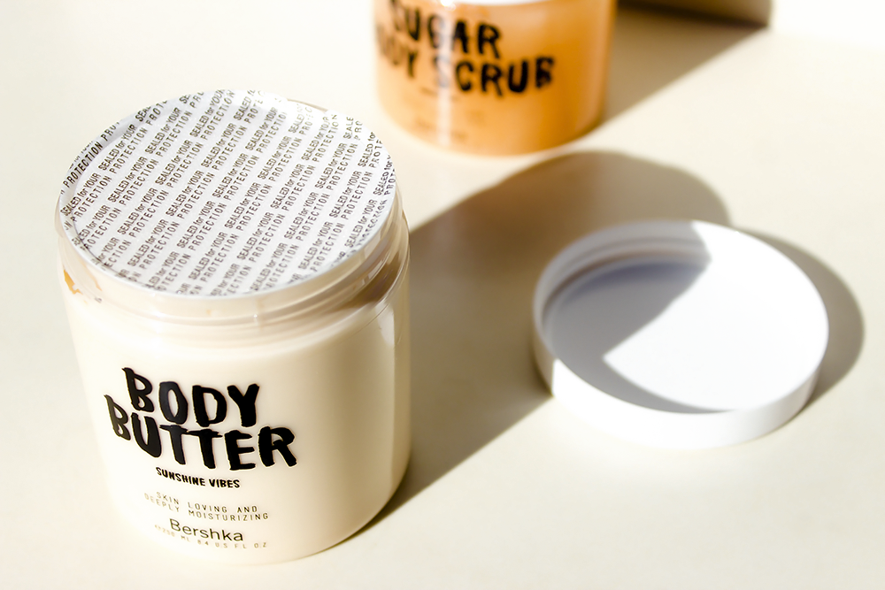 The Bershka Sunshine Vibes body butter packaging