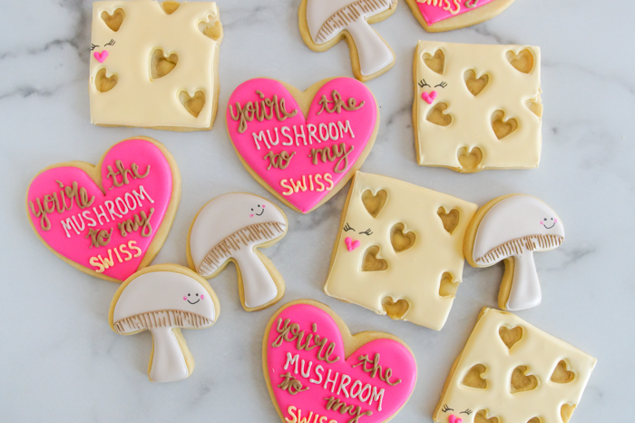 how to make You're the Mushroom to my Swiss Valentine cookies