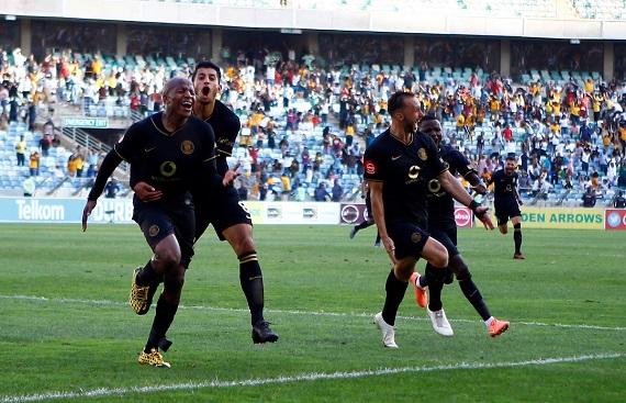 Kaizer Chiefs players celebrating last minute winner