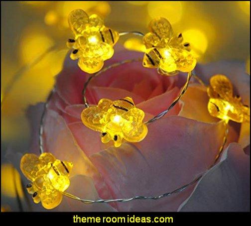 String Lights Honey Bee  bumble bee bedrooms - Bumble bee decor - Honey bee decor - decorating bumble bee home decor - Bumble Bee themed nursery - bee wallpaper mural decals - Honeycomb Stencil - hexagonal stencils - bees in springtime garden bedroom -  bee themed nursery - black yellow bedroom ideas