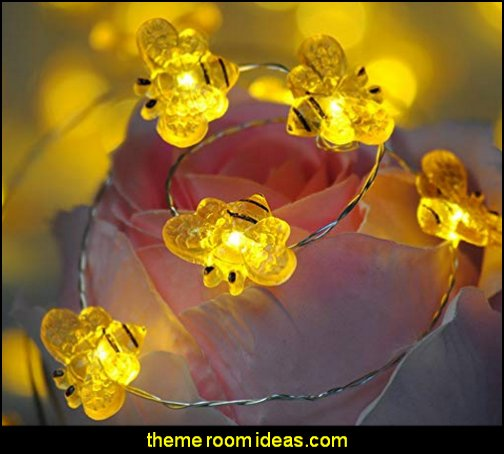 String Lights Honey Bee  bumble bee bedrooms - Bumble bee decor - Honey bee decor - decorating bumble bee home decor - Bumble Bee themed nursery - bee wallpaper mural decals - Honeycomb Stencil - hexagonal stencils - bees in springtime garden bedroom -  bee themed nursery - black yellow bedroom ideas