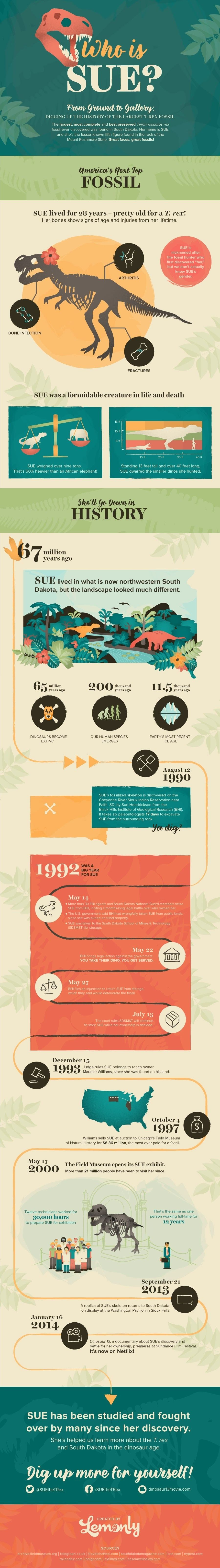 Who Is Sue? South Dakota's Biggest Dino #infographic