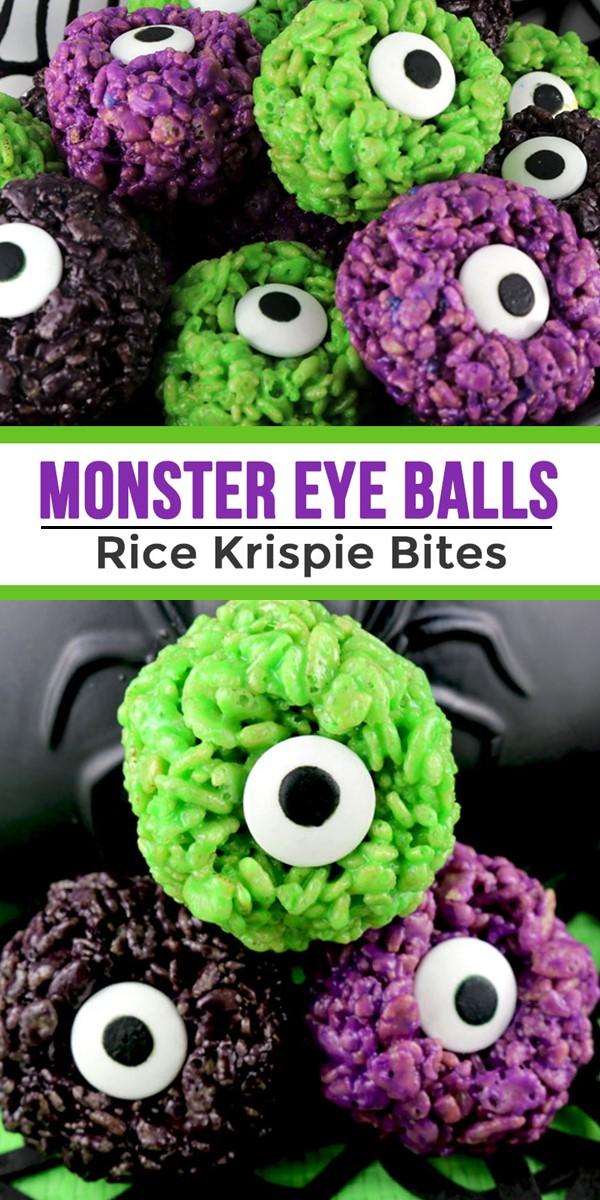 MONSTER EYE BALLS RICE KRISPIE BITES #halloweenrecipes