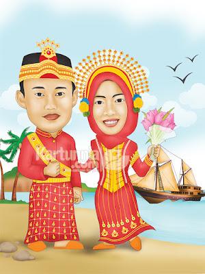 karikatur pernikahan adat bugis background kapal phinisi