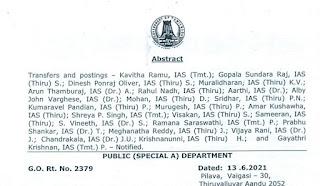 G O NO. 2379 DATE 13/06/2021 : IAS TRANSFER DETAILS
