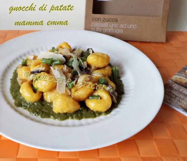 gnocchi di patate e zucca con fagiolini e funghi