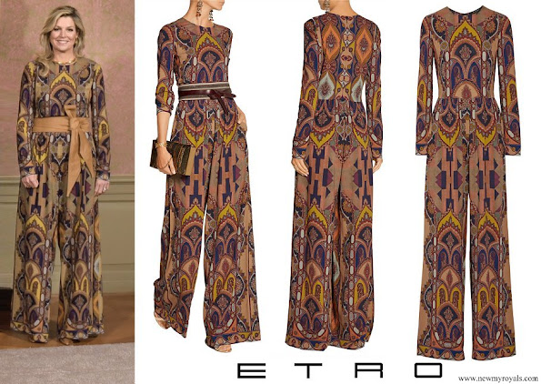 Queen Maxima wore Etro Printed stretch-crepe jumpsuit