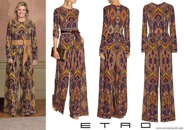 Queen Maxima wore Etro Printed stretch-crepe jumpsuit