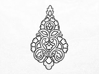 Flower butta khaka drawings for hand embroidery and machine embroidery saree Design