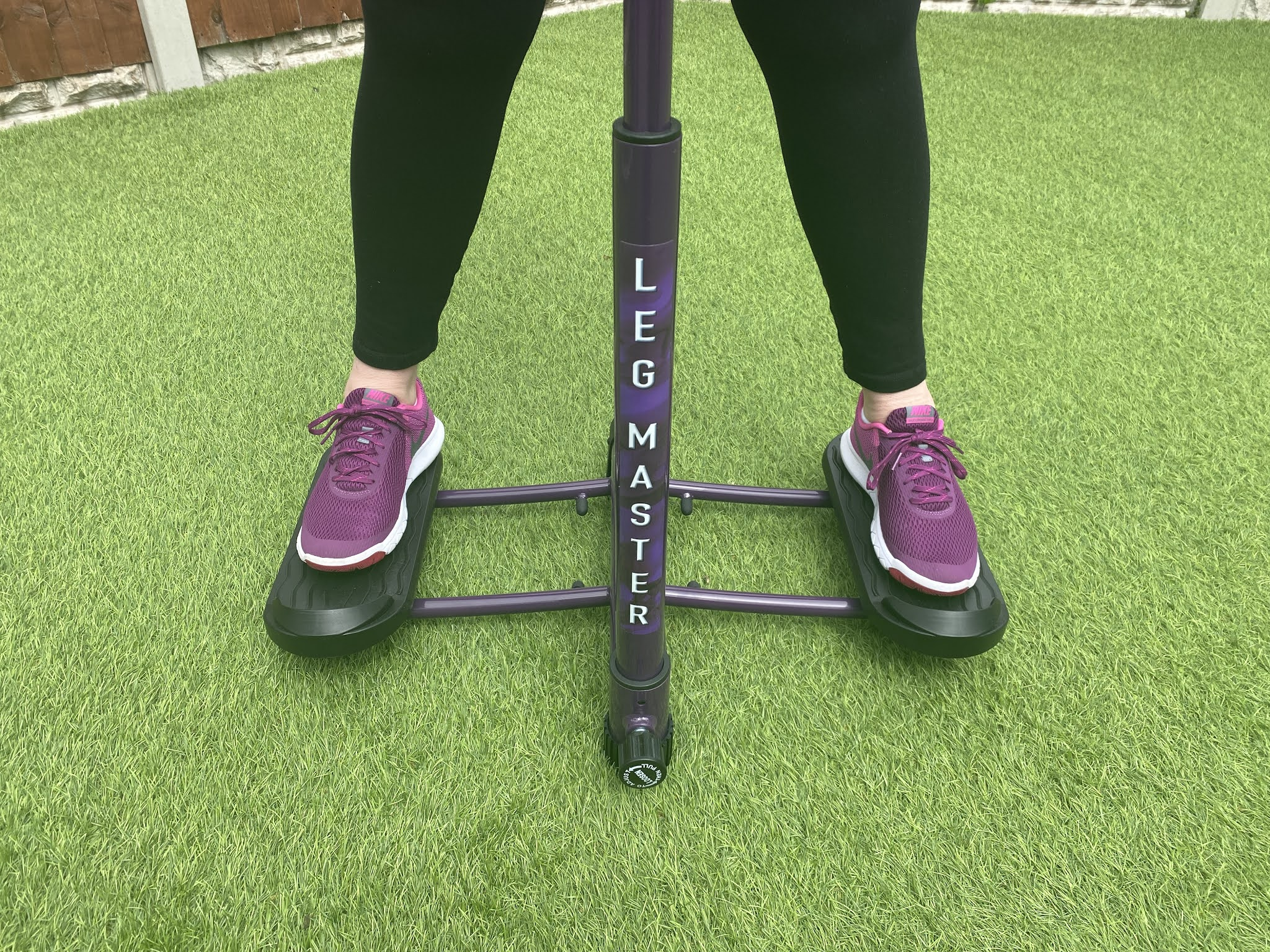 woman standing on leg master
