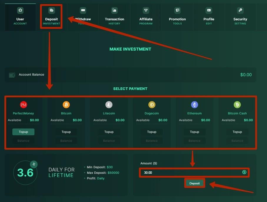 Пополнение баланса в BitXeon