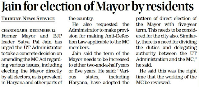 Jain for election of Mayor by residents