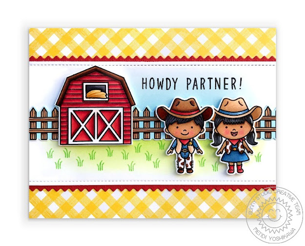 Sunny Studio Howdy Partner Yellow Gingham Cowgirl & Cowboy Card with Barn (using Little Buckaroo, Barnyard Buddies, Background Basics Stamps & Slimline Basic Border Dies)