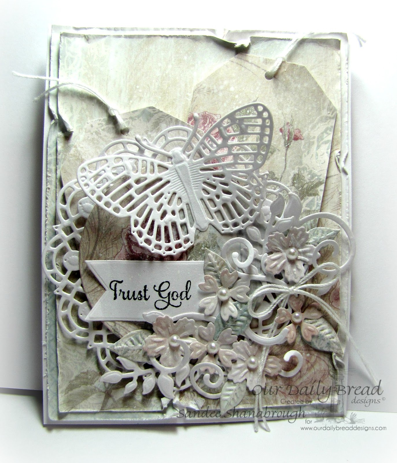 Stamps - Our Daily Bread Designs Belles Vignes, ODBD Custom Dies: Birds and Nest, Matting Circles, Fancy Foliage, Fancy Fritillary, Doily, Pennants, ODBD Shabby Rose Paper Collection